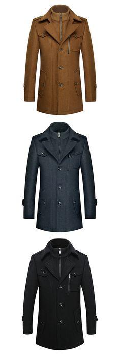 US$65.55 Mens Winter Thickened Warm Woolen Coat Turndown Collar Zipper Button Outwear