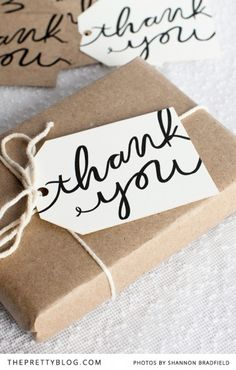 Free printable thank you gift tags, perfect for a wedding party or hostess gift.