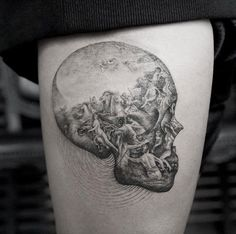 Detailed skull tattoo by Sanghyuk Ko