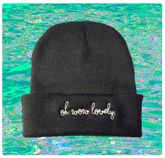 oh wow lovely: black beanie, white embroidery