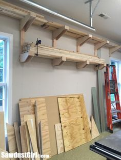Lumber Storage Solutions - Sawdust Girl® Create a more functional workspace and increase productivity with organized lumber storage solutions for every part of the shop. Lumber Storage Rack, Lumber Rack, Garage Storage Shelves, Garage Storage Solutions, Garage Organization, Tool Rack, Workshop Organization, Bathroom Organization, Organizing Ideas