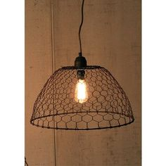 Kalalou Chicken Wire Basket Pendant Lamp - Kalalou Chicken Wire Basket Pendant Lamp has a rustic, industrial design that blends with any look. This pendant lamp has a country-fresh wire basket that lets your Edison bulb shine through. Perfect as is, but if you want a DIY customized look, weave the chicken wire cage with your favorite fabric or yarn.