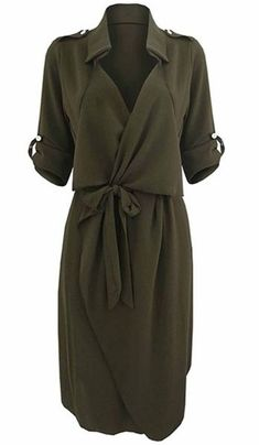 Stylish Turn-Down Collar Long Sleeve Solid Color Self Tie Belt Women's Trench Coat Great Work Dress! Army Green Stylish Turn-Down Collar Long Sleeve Solid Color Self Tie Belt Women's Trench Coat Style Dress Trench Coat Style, Trench Coats, Women's Coats, Work Coats, Cooler Look, Looks Plus Size, Dress Shirts For Women, Mode Hijab, Work Fashion