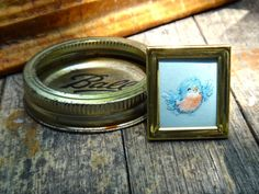 Small frame, 1 x 1 frame, small brass frame. Wedding decor, tiny frame, made in Korea. Blue bird art, floral and fauna art, place card. Adorable 1