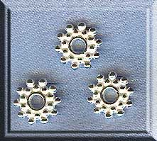 Sterling Silver 9mm Snowflake Jewelry Spacers, Bright (2)