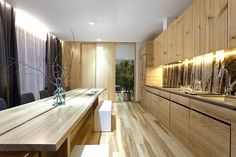 love the long wooden dining table | modern kitchen eco-friendly #natural design