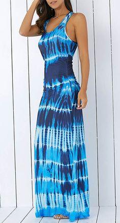 Bohemian Tie-Dye Illusion Print Racerback Maxi Dress