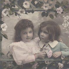 Sweet Children with Flowers Original Vintage Photo Postcard | eBay