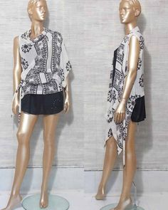 ANN DEMEULEMEESTER asymmetrical black and white top by IuSshop