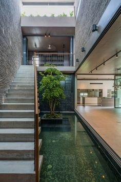 Naturally ventilated yet covered courtyard space where a cantilevered concrete stairs ascends to the second level over a pool with a feature tree in the middle Courtyard Pool, Modern Courtyard, Courtyard Design, Home Room Design, House Design, Atrium House, Concrete Stairs, Villa, Interior Garden