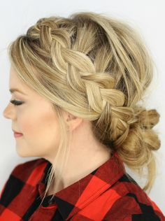 Crown #braid with #bun    #Hairstyle   http://tinkiiboutique.com/