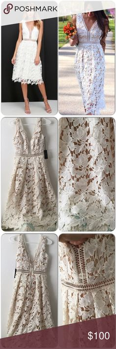 SALERomeo+Juliet Couture Woven Lace Dress Beautiful floral woven lace dress, exposed zippered closer at back. Woven lattice pattern peek-a-boo at waist. Over the knee length. Just amazing dress for an elegant party. Romeo & Juliet Couture Dresses Midi