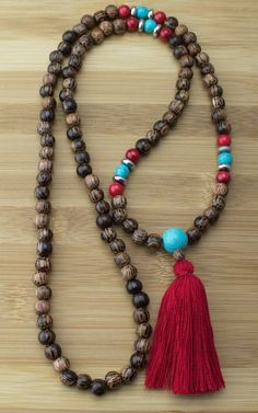 Palmwood with Turquoise Magnesite & Red Bamboo Coral Mala Necklace
