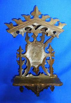 Vintage German Wood Carved Folk Art Tramp Art Wall Shelf Pocket Watch Holder #CC