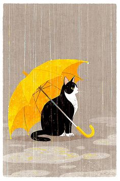 shino's illustration works — 雨宿り © shino All rights reserved. Yellow Umbrella, Umbrella Art, Crazy Cat Lady, Crazy Cats, I Love Cats, Cute Cats, Art Et Illustration, Cat Illustrations, Cat Drawing