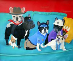 French Bulldog Art Print / The Village Frenchies / by by dogwagart