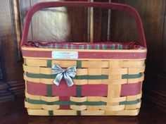2008 Longaberger Wrap It Up Basket with Fabric Insert and Plastic Insert