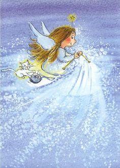 by Virpi Pekkala Modern Christmas Cards, Christmas Scenes, Noel Christmas, Winter Illustration, Christmas Illustration, Cute Illustration, Angel Drawing, Angel Cards, Whimsical Art
