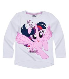 My Little Pony Girls Long Sleeve Top, Tees T-Shirt 3-10 Years - White, Twilight Sparkle