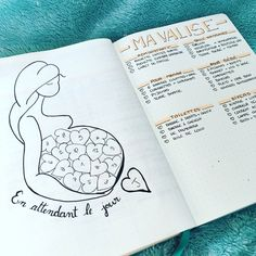 Bullet journal pregnancy planner, delivery room packing list. @anie_aime