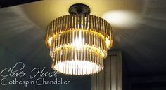 Clothespin Chandelier - fun DIY lighting project and cute idea for a laundry room.