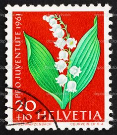 SWITZERLAND - CIRCA 1961: a stamp printed in the Switzerland shows Lily of the valley, Convallaria Majalis, Flowering Plant, circa 1961 — Photo by Boris15