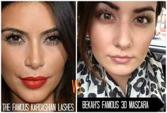 Wonder what Kim K has had to pay to get her lashes looking this good‼‼  I can guarantee you it wasn't $29 which is all 3-D fiber mascara costs and personally I think Rebekah's on the right look better  LASH LASH BABY‼‼‼‼