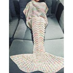 Soft Multicolor Knitted Mermaid Tail Design Blanket For Adult (OFF-WHITE) in Blankets & Throws | DressLily.com