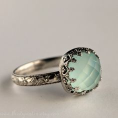 Aqua Chalcedony Cocktail Ring in Sterling Silver ($124) ❤ liked on Polyvore