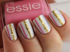 Essie pink and gold glitter striped nails! Fancy Nails, Love Nails, Diy Nails, How To Do Nails, Fabulous Nails, Gorgeous Nails, Pretty Nails, Amazing Nails, Perfect Nails