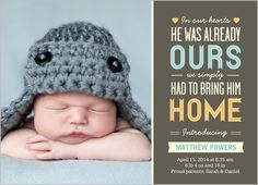 In Our Hearts Boy Birth Announcement