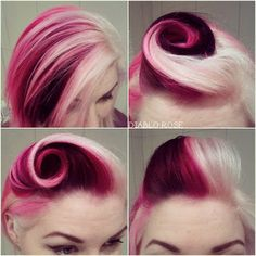 I think this might be my new hair! Look at the blond and burgundy pink hair… Funky Hairstyles, Pretty Hairstyles, Vintage Hairstyles, Wedding Hairstyles, Pin Up Hair, Coloured Hair, Grunge Hair, Dream Hair, Crazy Hair