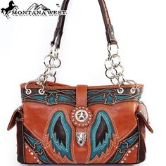 Amazon.com: Montana West Western Star Studded Turn Over Top Laser Cut Wing Shape Embroidered Small Round Rivet Studded Handbag Purse in Brown and Turquoise Blue: Clothing $45.99