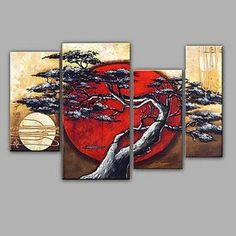 4 Piece Canvas Art, Abstract Art, Moon and Tree Painting, Large Painting – Art Painting Canvas Large Paintings For Sale, Colorful Paintings, Modern Paintings, Texture Painting On Canvas, Hand Painting Art, Online Painting, Buy Paintings Online, Woman Painting, Abstract Art For Sale