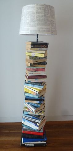 Upcycled book lamp and shade
