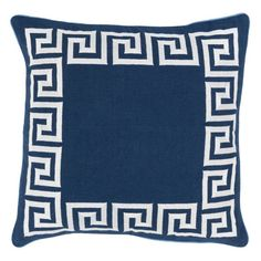 Surya Keeper of the Keys Decorative Pillow Blue / White Down Fill - KLD002-2222D