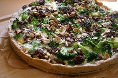 broccoli quiche with sausage and hazelnuts