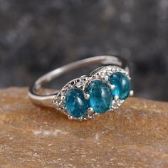 Malgache Neon Apatite 3-Stone Ring in Platinum Overlay Sterling Silver (Nickel Free)