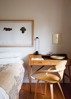 Etching above bed by Christine Dixie, Norman Cherner butterfly chair and Niels Vodder writing table - H SA April 2011
