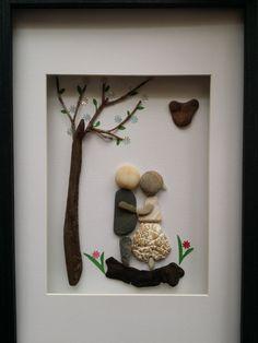 Pebble art, unique engagement gift, rock art, wedding gift, mixed media art by madebynatureandme on Etsy