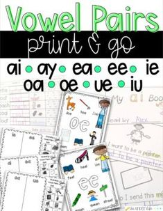 Vowel Pairs Print and Go Activities and Sorts ai ay ea ee ie oa oe ue iu First Grade Phonics, Teaching First Grade, First Grade Reading, Student Reading, Phonics Books, Phonics Activities, Educational Activities, Vowel Digraphs, Words Containing