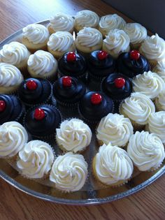 For a black, white and red party - Black Cherry #cupcakes, Vanilla cupcakes