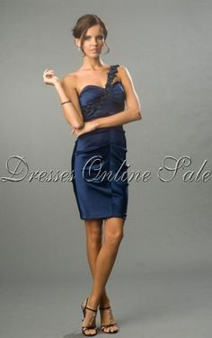 Move your mouse over image or click to enlarge  Wholesale Sheath Knee-length One Shoulder Dark Navy Satin Dress