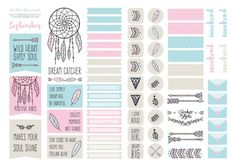 Free Printable Dreamcatcher Planner Stickers – The Dear You Project To Do Planner, Free Planner, Planner Pages, Happy Planner, Project Life Planner, Planner Diy, Journal Stickers, Printable Planner Stickers, Free Printables