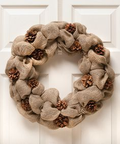 Look at this Natural Burlap Pinecone Wreath on #zulily today!