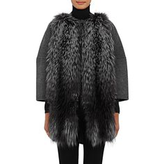 Barneys New York Women's Fur-Front Wool-Cashmere Coat ($1,695) ❤ liked on Polyvore featuring outerwear, coats, dark grey, fur coat, wool coat, barneys new york, cashmere coat and wool fur coat