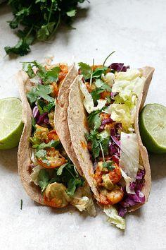 Spicy Shrimp Tacos with a Southwest Avocado Sauce | Fabtastic Eats