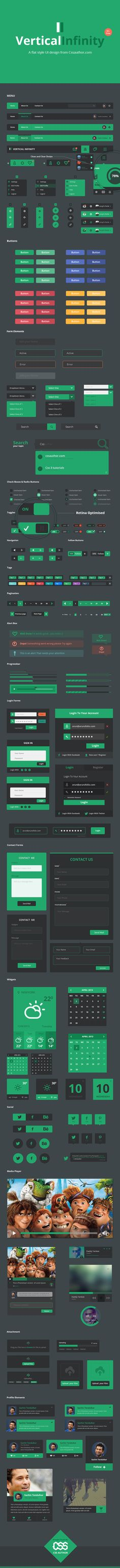Vertical Infinity - A #Mega #Flat Style #UI Kit,  #Box, 3Buttons, #Calendar, #Checkbox, #Dropdown, #Facebook, #Form, #Free, #Graphic #Design, 3Green, #Icon, #Login, #Menu, #Navigation, #Pagination, #Pinterest, #Player, #Profile, #Progress, #PSD, #Radio, #Resource, #Retina, #SearchField, #Slider, #Social #Media, #Switch, #Tag, #Toggle, #Tooltip, #Twitter, #Upload, #Uploader, #Weather, #Widget