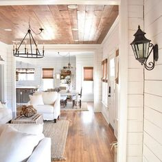 Awesome Rustic Farmhouse Style Living Room Design Ideas 19 - Rustic Farm Home Decoration Inspiration, Decor Ideas, Wood Ceilings, Tray Ceilings, Ship Lap Walls, My New Room, White Walls, Fixer Upper, Modern Farmhouse