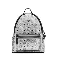 MCM Medium Stark Side Studded Backpack In Silver